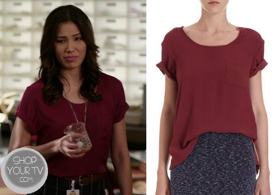 Shop Your Tv: Bones: Season 9 Episode 10 Angela's Maroon Short Sleeve Blouse