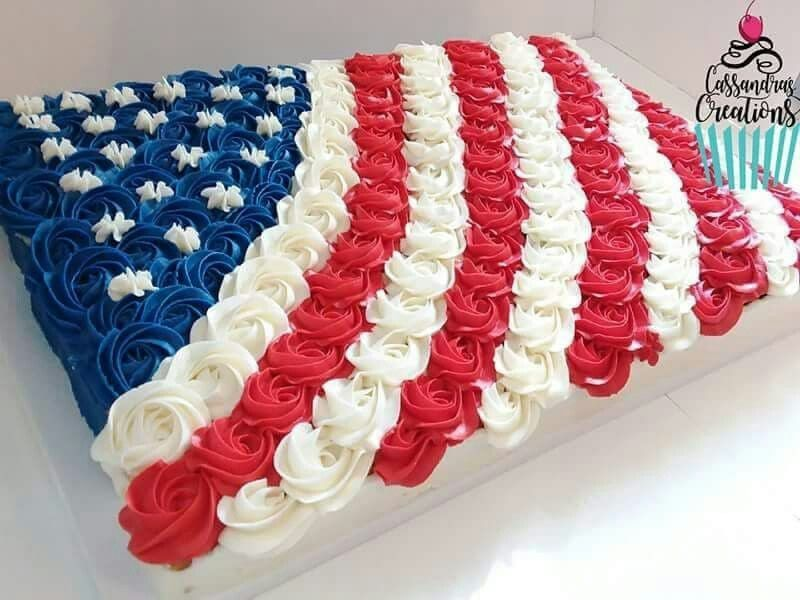 5dc1b840e00 American flag rosette sheet cake 4th of july