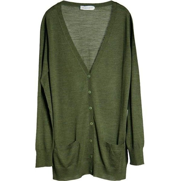 MÅNESTRÅLE Silke wool cardigan green ($42) ❤ liked on Polyvore featuring tops, cardigans, sweaters, outerwear, women, silk top, green top, green cardigan, green silk top and silk cardigan