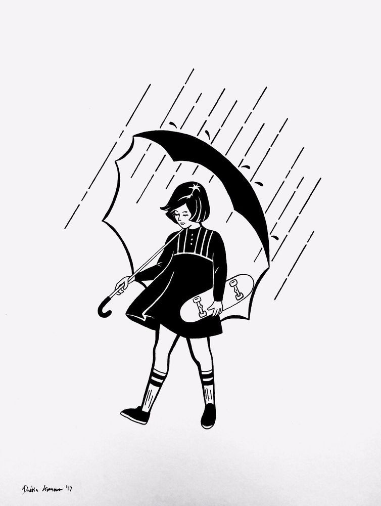 Rained out original drawing skateboarding skate black white ink pop art ebay