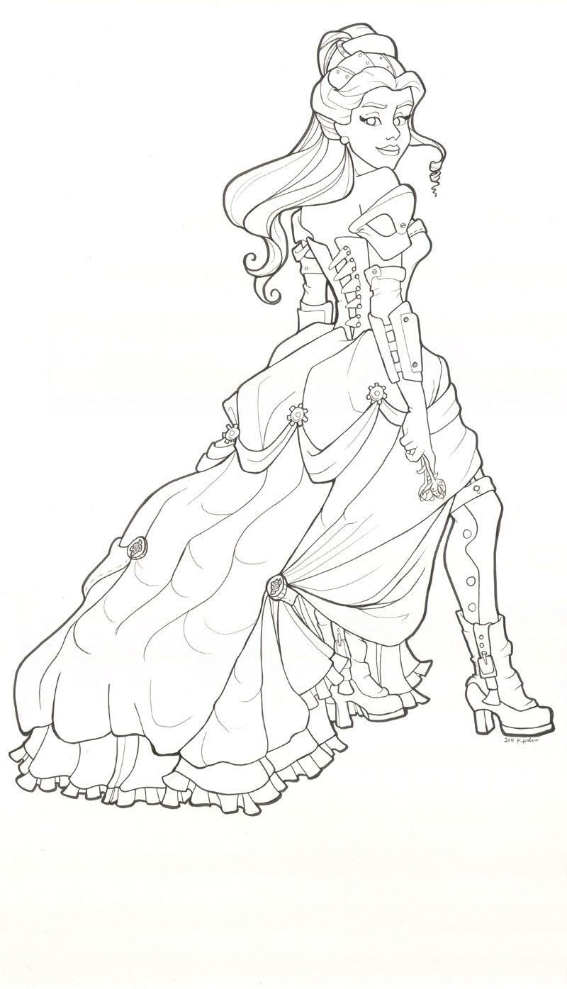 Steampunk Belle Line Drawing By Khallion On Deviantart Belle Coloring Pages Steampunk Coloring Steampunk Belle