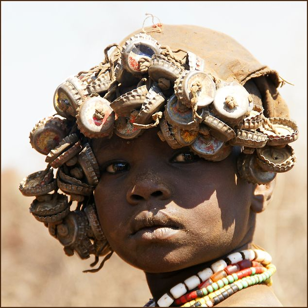 Dassanech girl in Ethiopia. The picture was taken inside a
