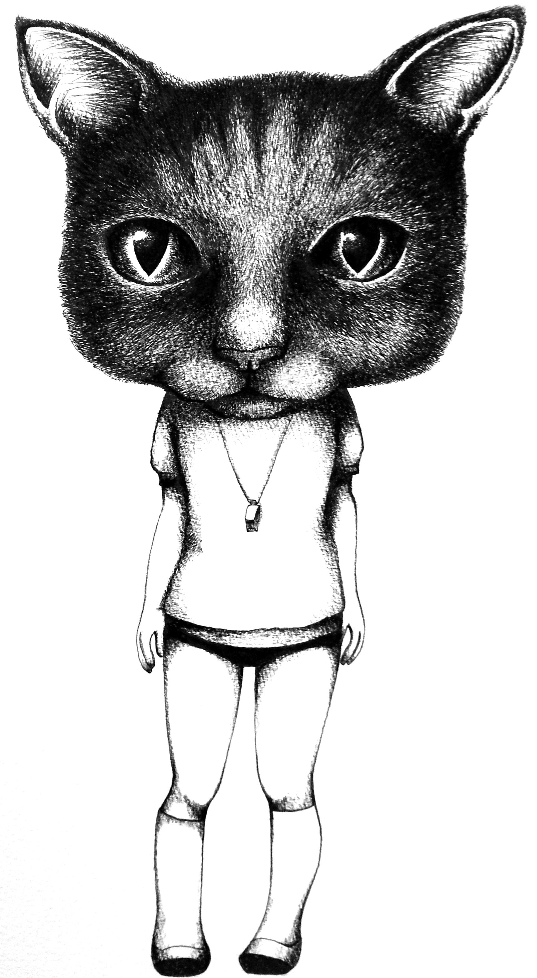 masked girl cat     I drew with a pen . by mayuko
