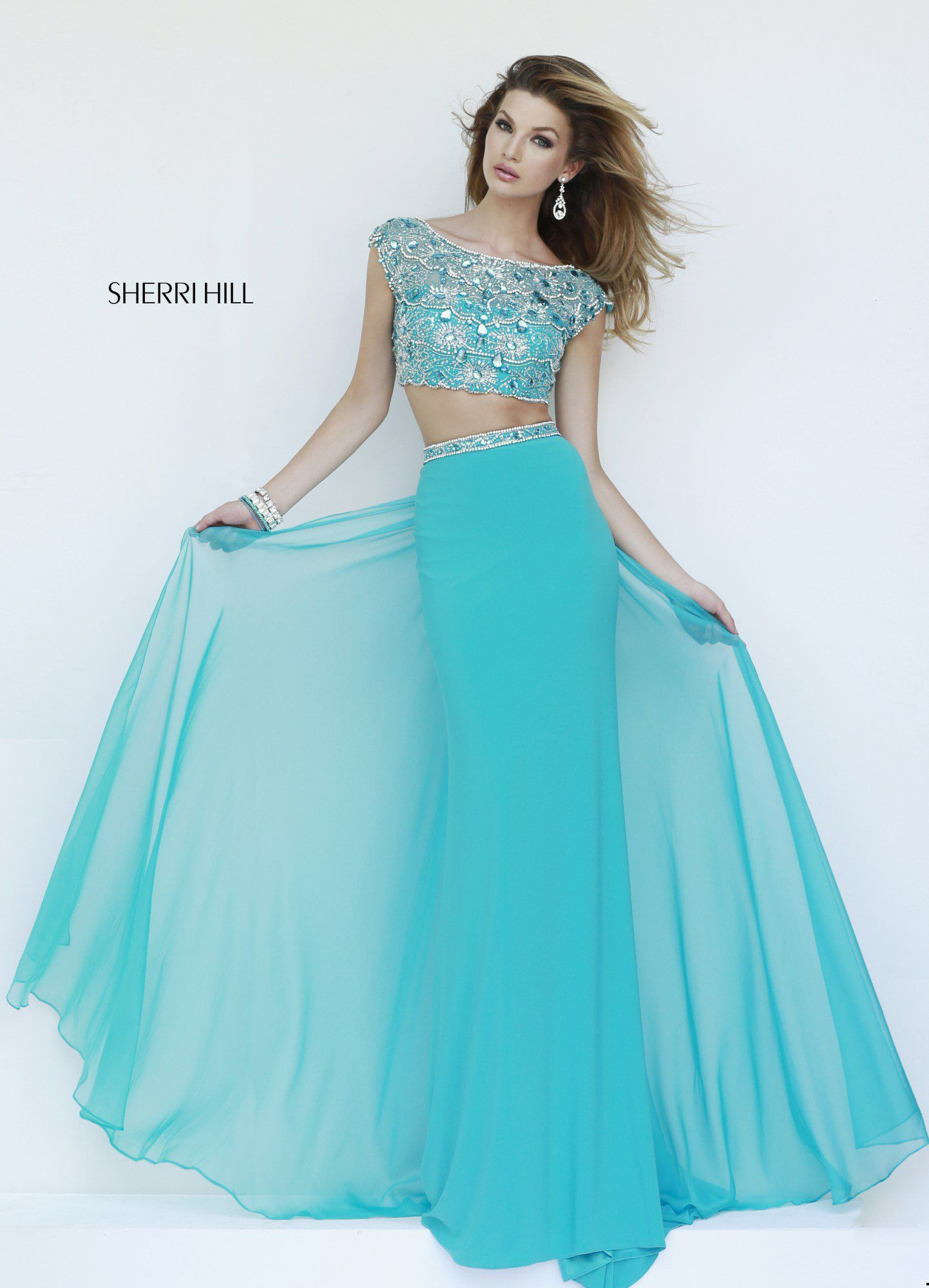 two piece crop top with gorgeous flowing skirt Sherri Hill Prom ...