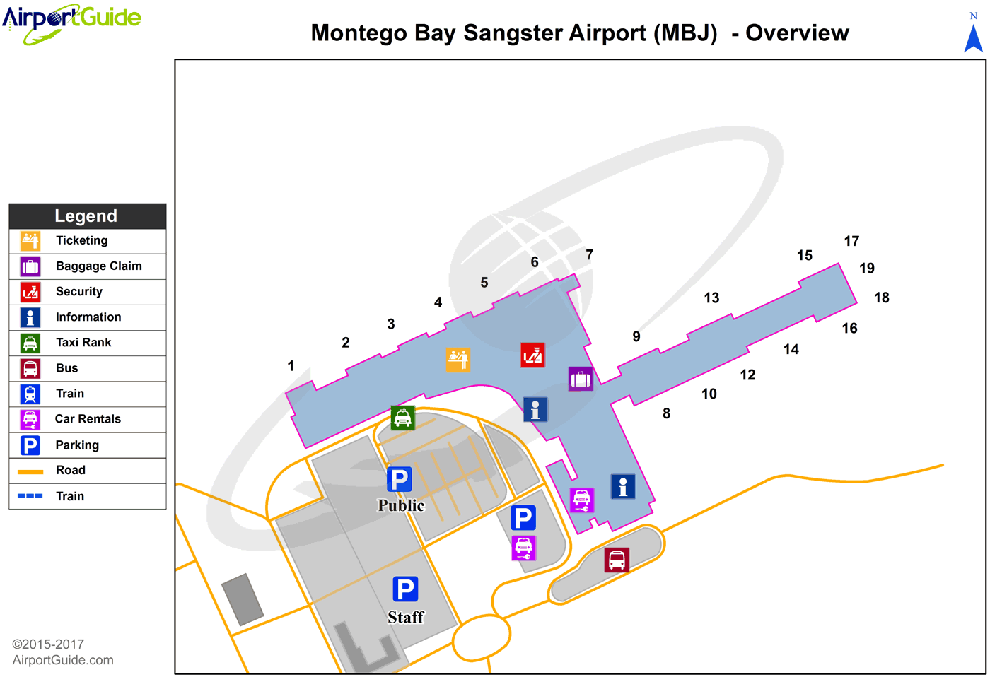 montego bay  sangster international (mbj) airport terminal map  overview. montego bay  sangster international (mbj) airport terminal map