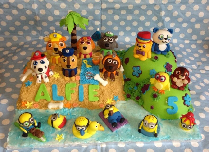 Paw patrol minions and ruff ruff tweet and Dave cake