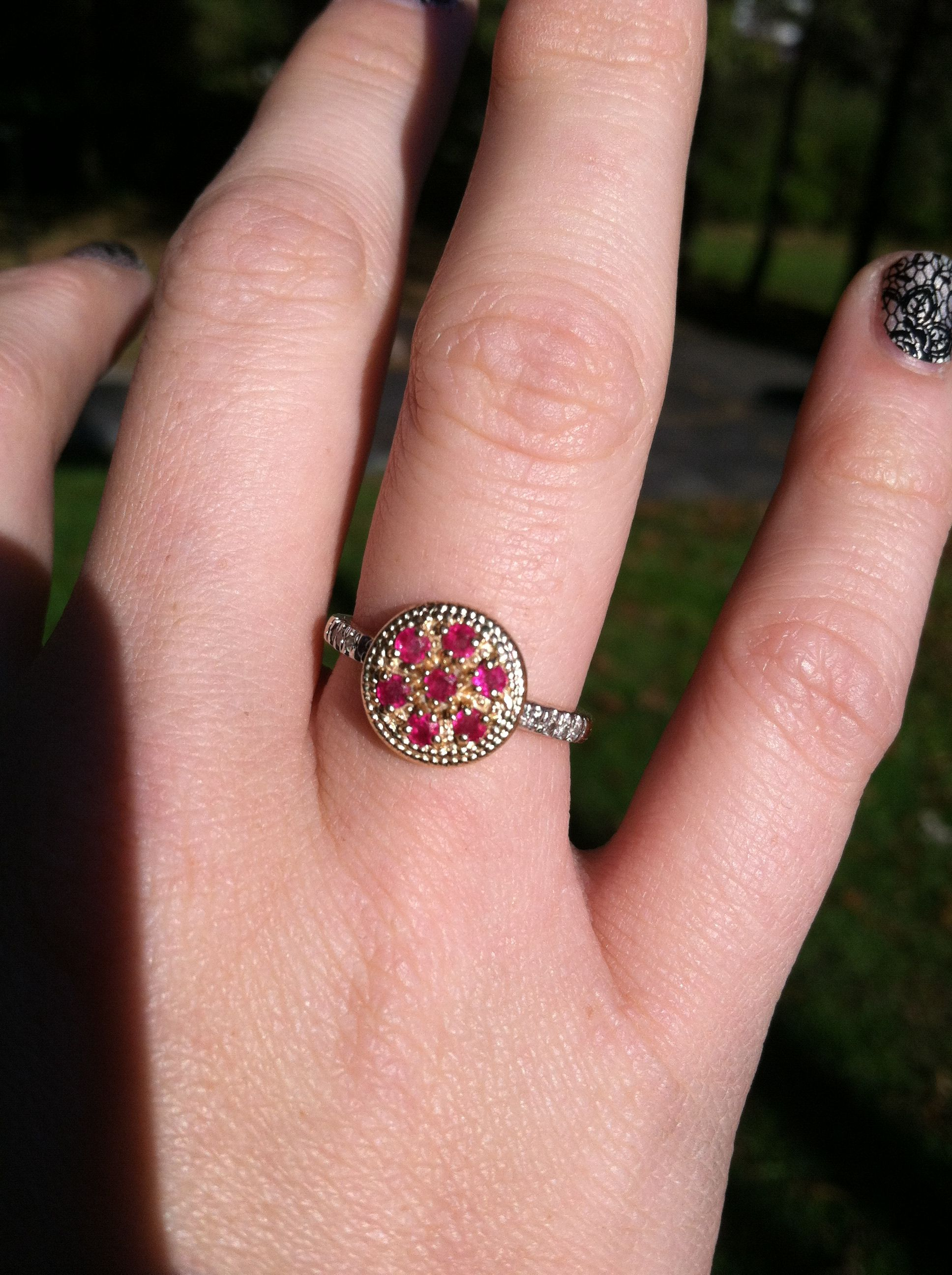 Ruby ring with diamond band