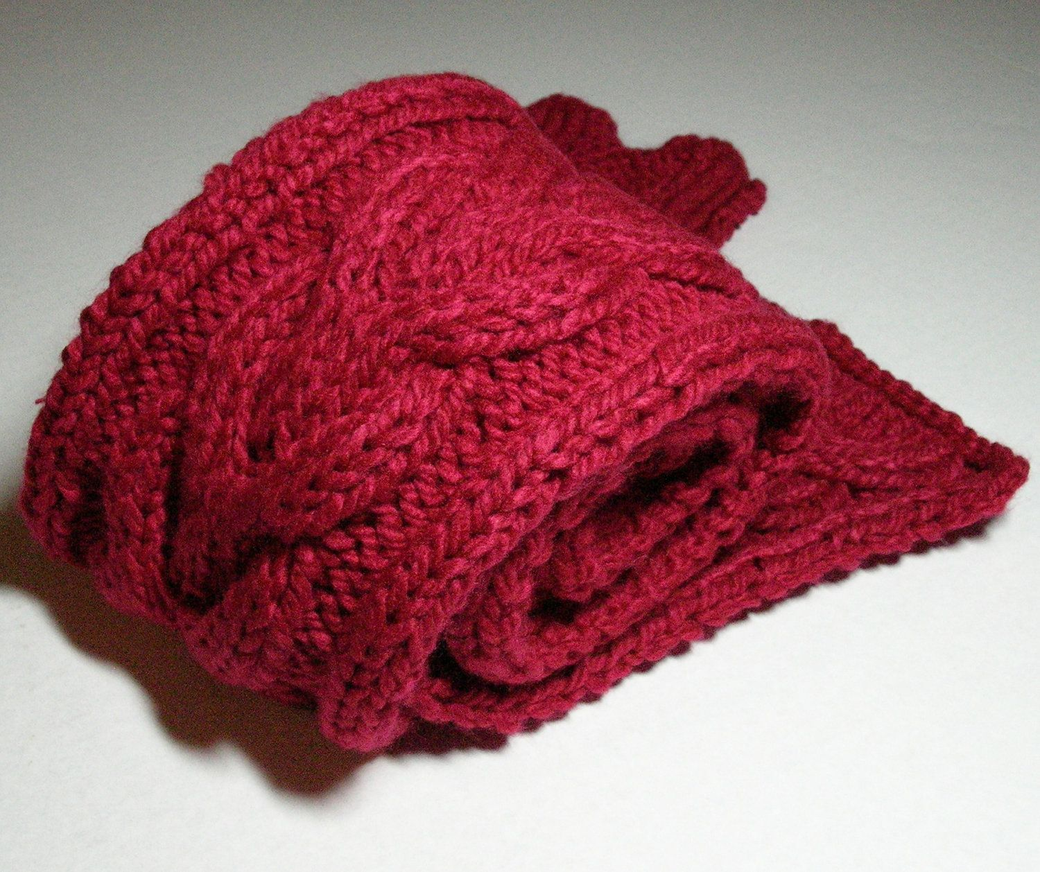Cranberry Red Cable Scarf Hand Knit Horseshoe Cable | Cable, Scarves ...
