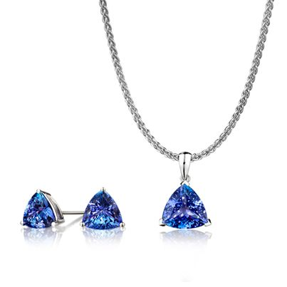 Tanzanite pendant and stud earrings from Shimansky.