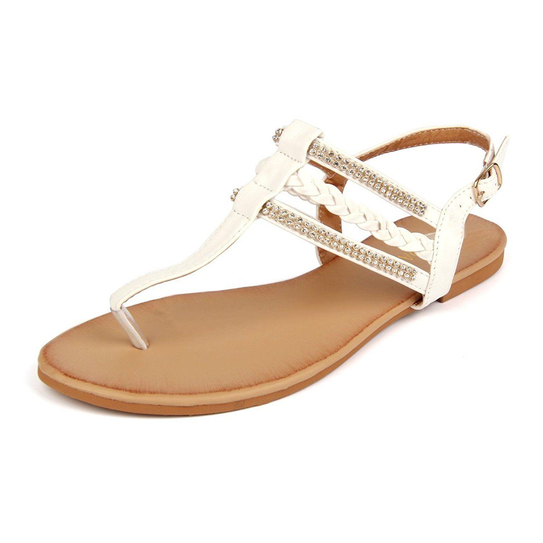 97ebe50fd79 MuDan Women s Strappy Rhinestones Thong Buckle Strap Gladiator Flat Sandals  -- Don t get