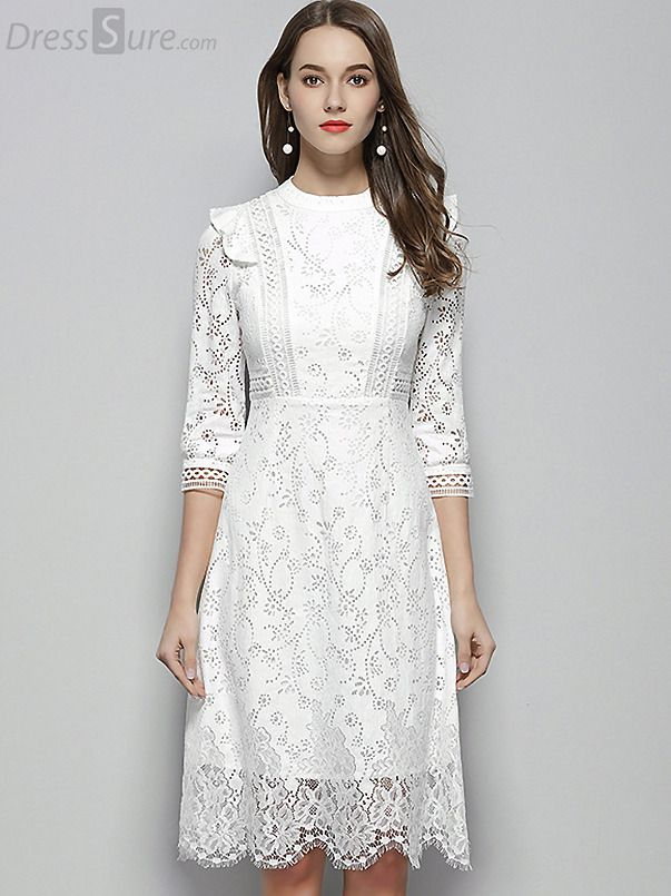 Buy Elegant O Mecl 3 4 Sleeve Lace A Line Dress At Dresssure Com Design Elegant O Mecl 3 4 Sleeve Lace A Line Dress Vestidos Especiais Vestidos Roupas Chique