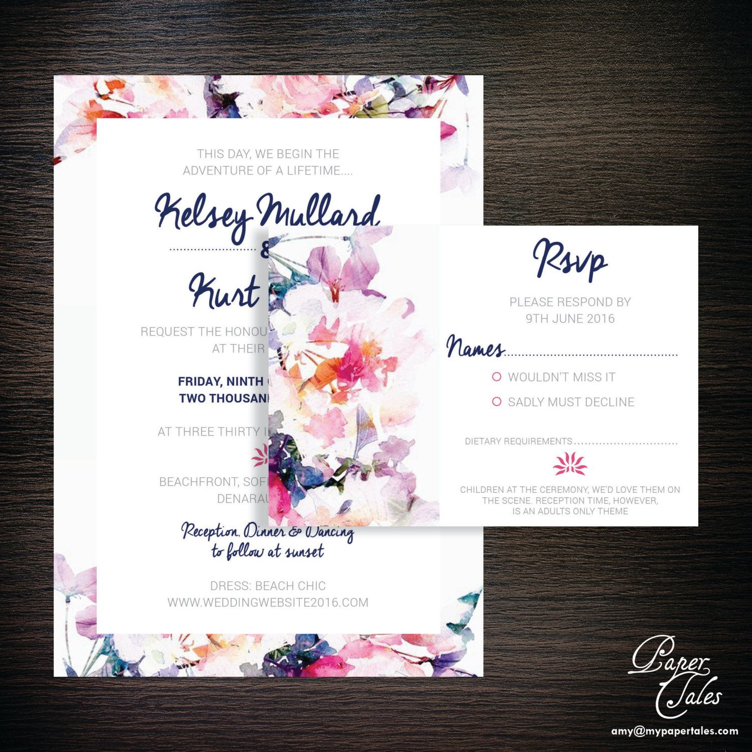 Fiji Tropical/Exotic Floral Wedding Invitation Set with RSVP Card ...