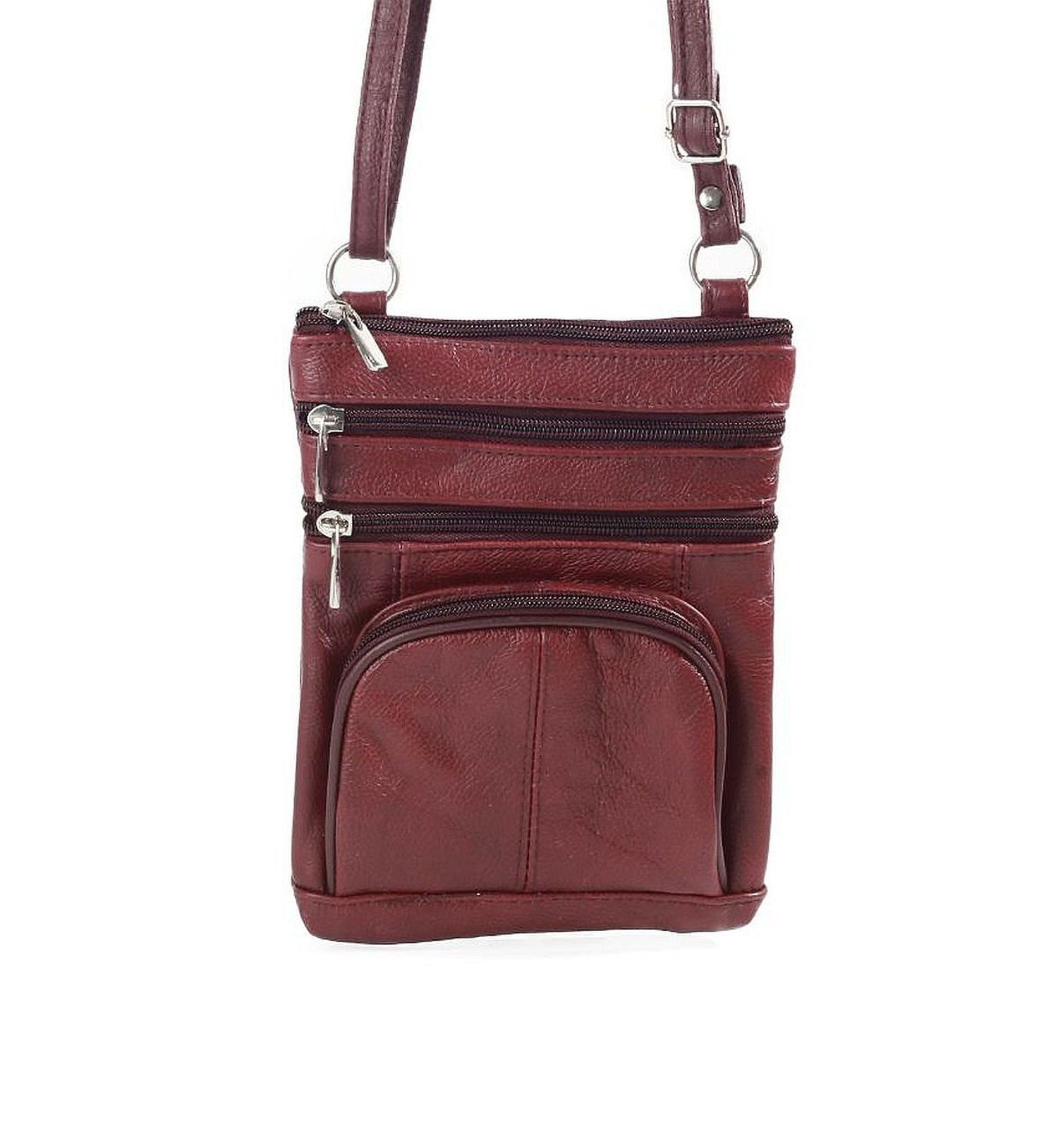 Roma Leathers Genuine Leather Multi-Pocket Crossbody Purse Bag Black