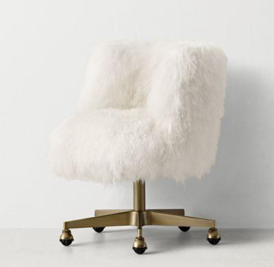 RH TEEN\u0027s Kinney White Mongolian Lamb Desk Chair - Antiqued Brass