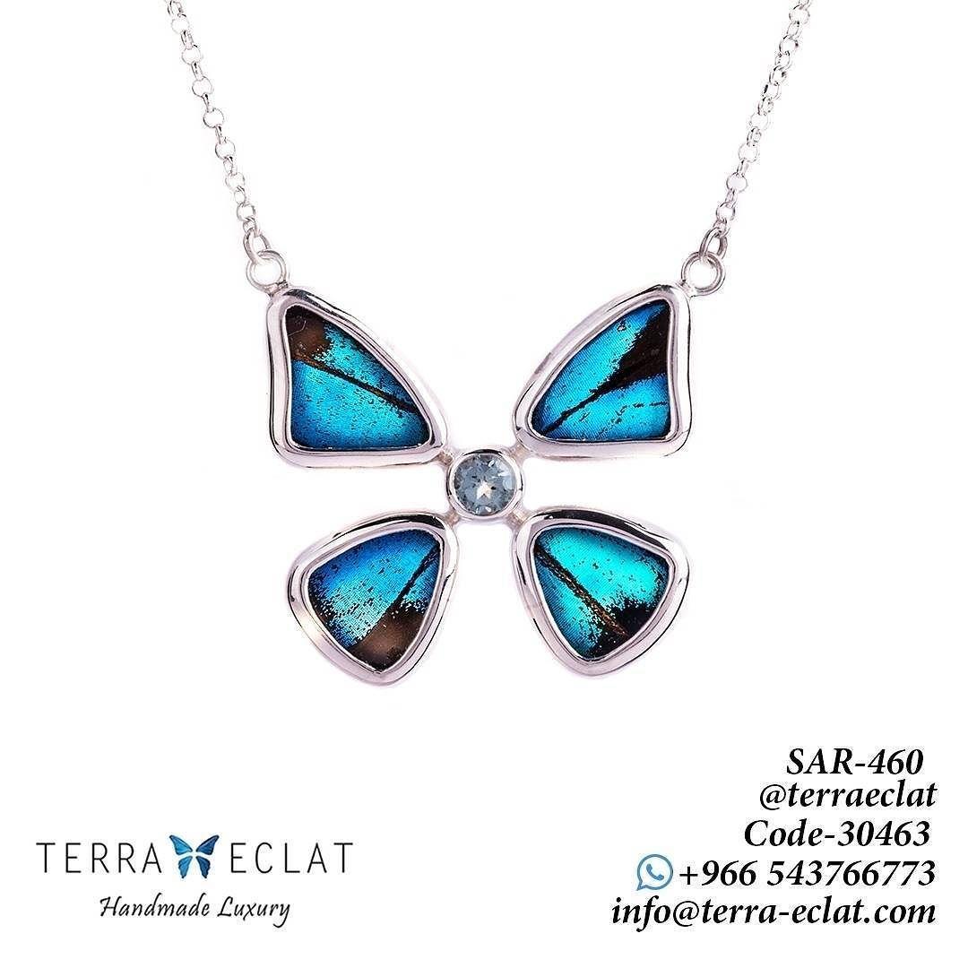 السعر 460 ريال 30463 الرقم كولكشن جديد من أجنحة للفراشات الحقيقية فضة و فضة مطلي ذهب مرصع بأحجار كريمة الح Unique Gemstones Jewelry Art Real Butterfly Wings