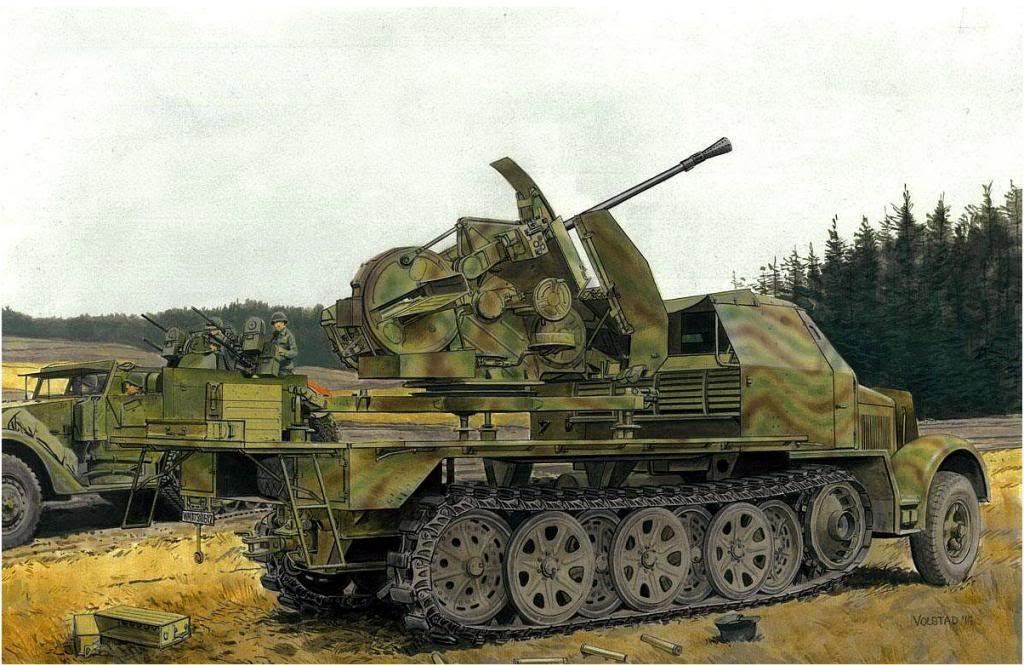 Sd.Kfz. 7/1 3.7cm FlaK 43 auf Selbstfahrlafette con cabina blindada, El Flak 43 era fabricado por Rheinmetall. El Sd.Kfz. 7 era conocido como el vehículo de remolque del cañón antiaéreo 88 cm de 8 ton. Detras un M16 version antiaerea