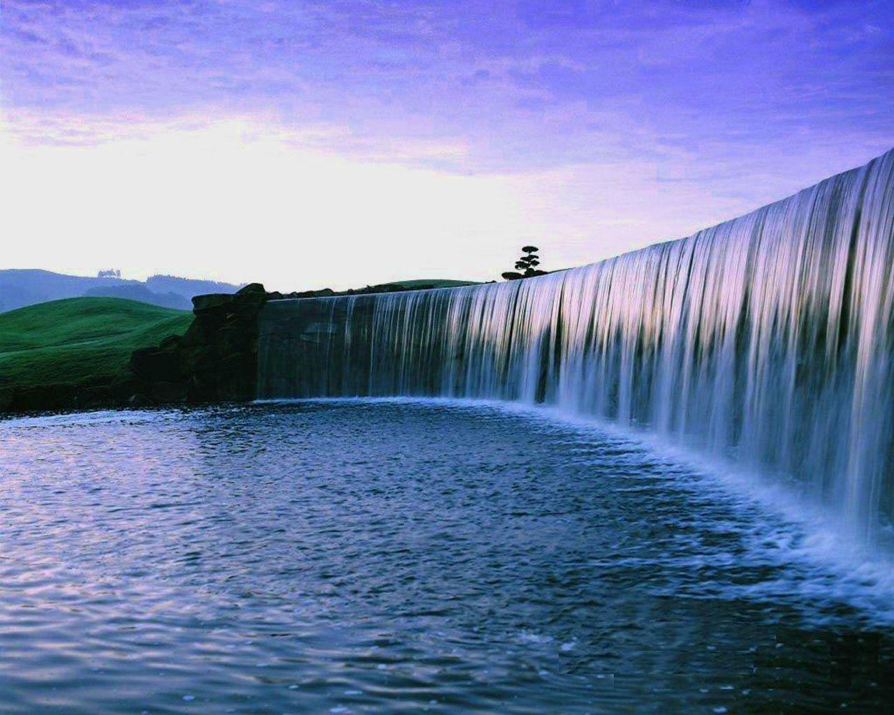 Natural Waterfall Wallpaper Dengan Gambar Pemandangan Lautan