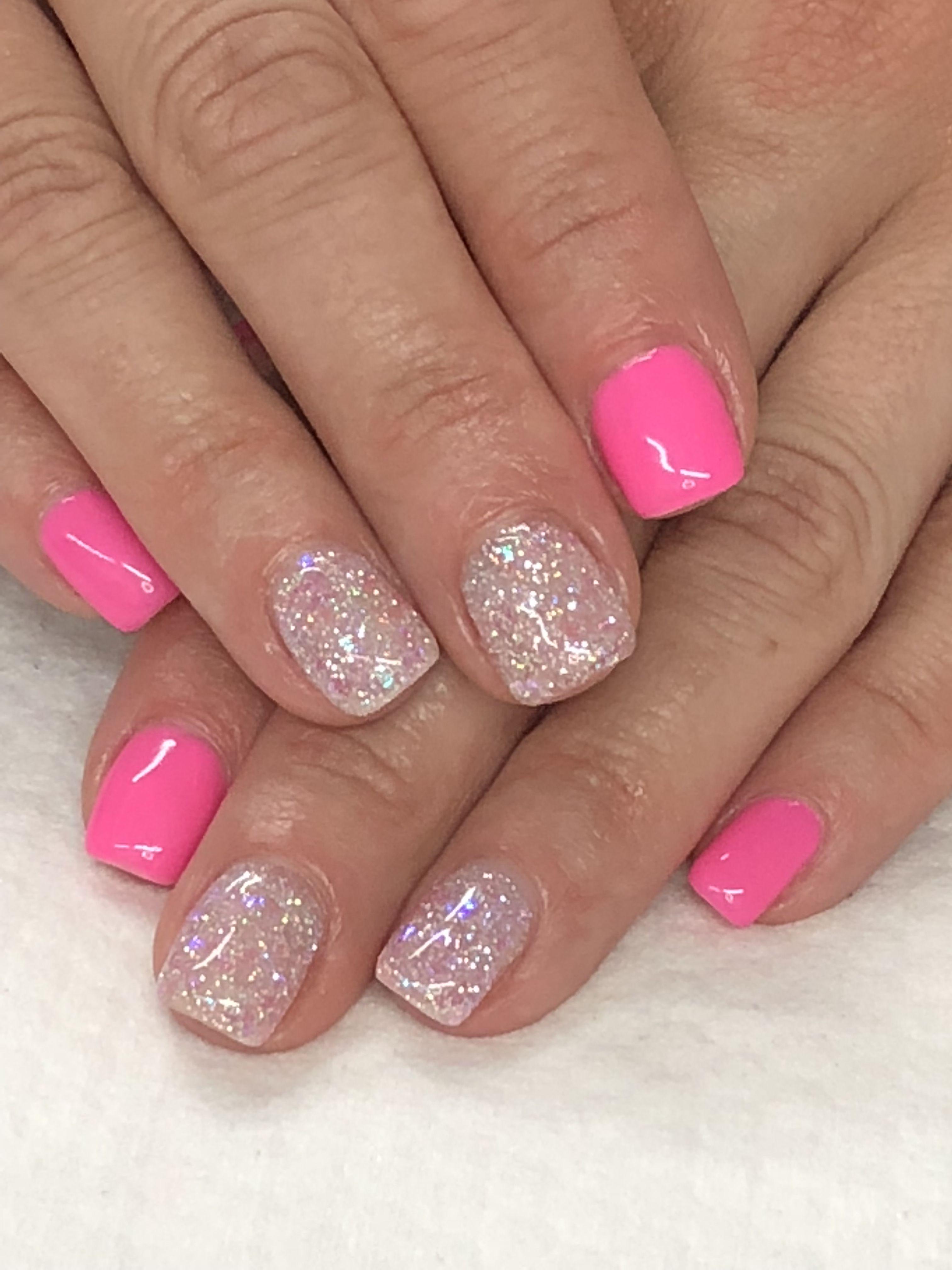 Pink Summer Glitter Gel Nails Light Elegance Double Scoop Sugar Coated Summer Gel Nails Pink Nails Glitter Gel Nails