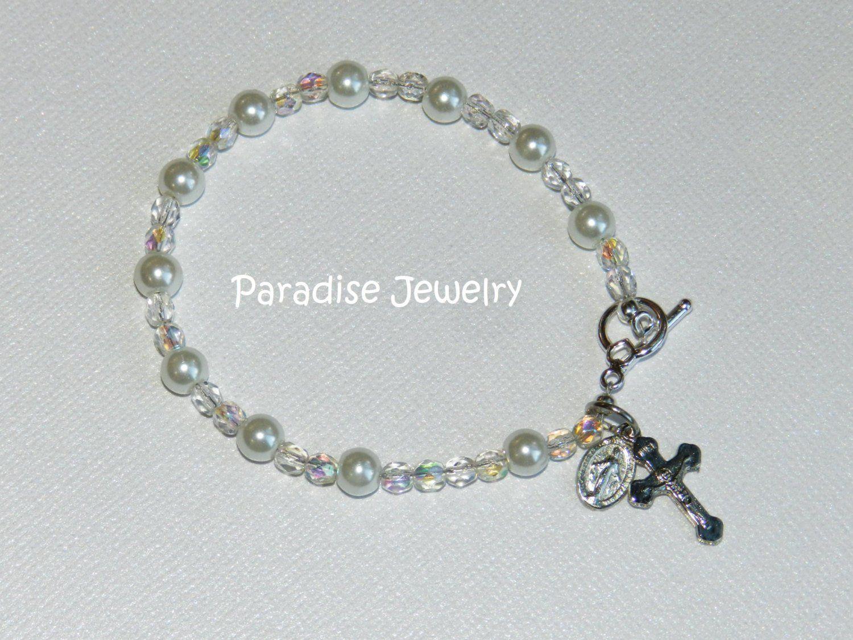 First holy communion gift baptism gift catholic rosary bracelet