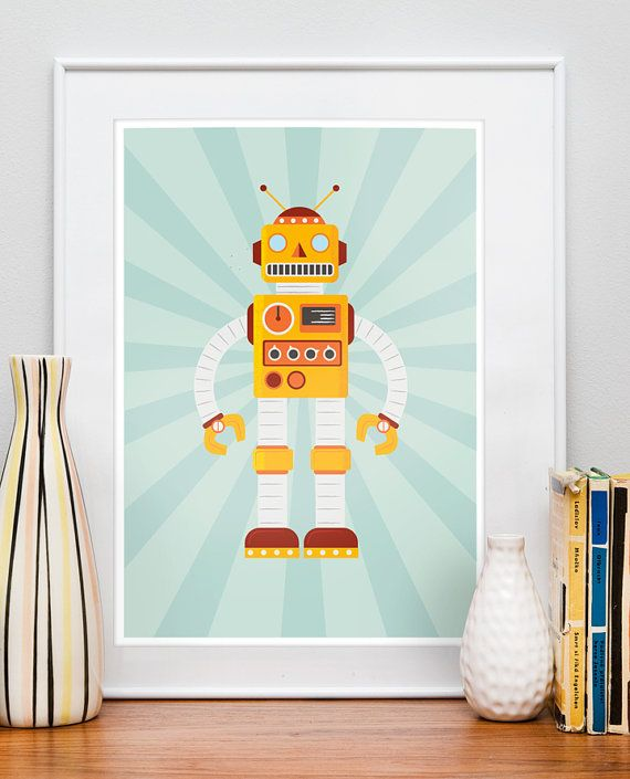 retro roboter poster kunst f r kinder gl cklich kindergarten drucken baby kinderzimmer kunst. Black Bedroom Furniture Sets. Home Design Ideas