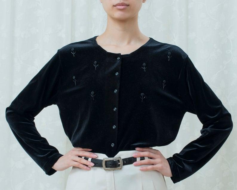 bohemian eyelet velvet button down shirt 90s black velvet embroidered blouse large minimal stretch velvet slinky collared evening blouse