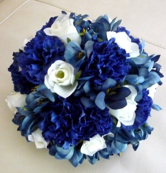 Royal Blue Carnations With White Roses And Medium Blue Lisianthus Centerpieces Blue Wedding Bouquet Midnight Blue Wedding Bridal Party Flowers