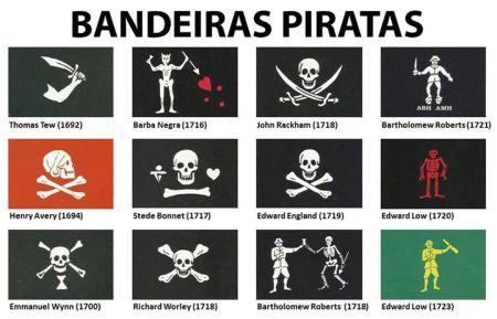 """As """"Jolly Rogers"""" eram as famosas bandeiras utilizadas pelos piratas britânicos e o nome é atribuído a um navio que fora perdido pelo conhecido comandante Francis Drake durante uma batalha contra a Invencível Armada da Espanha em 1588. O navio Jolly Roger teria sido a única embarcação britânica perdida na batalha."""