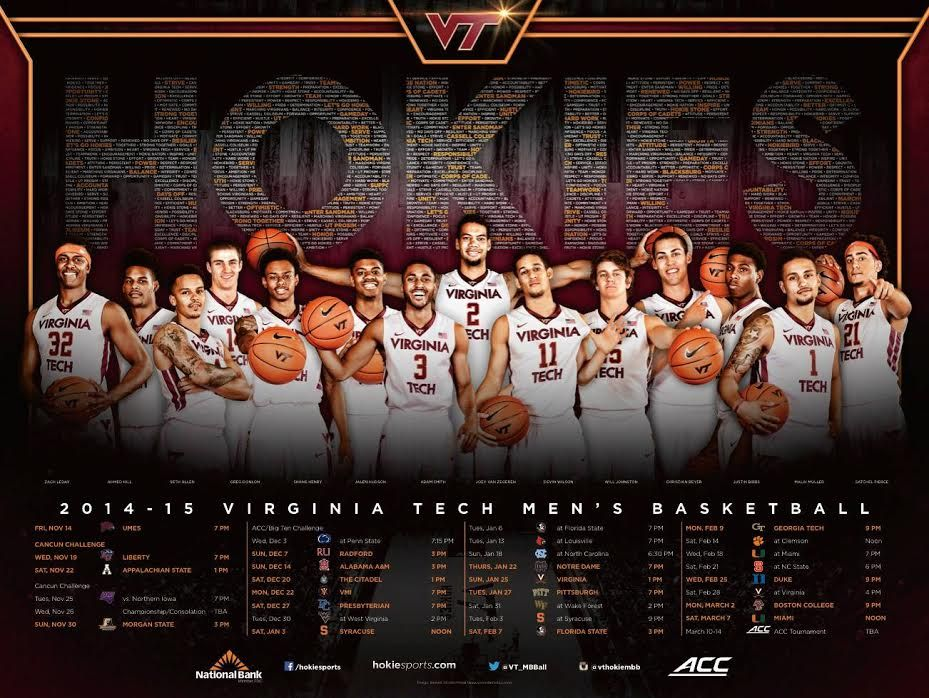 2014 Virginia Tech Men's Basketball Poster Basketball
