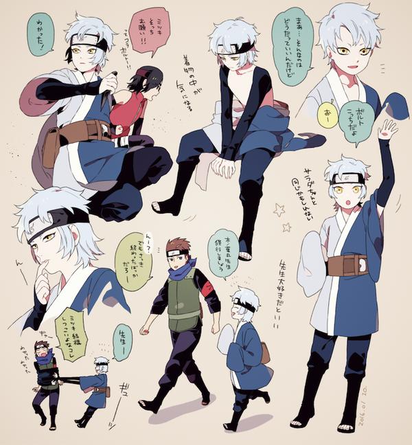 Mitsuki and konohamoru sensei