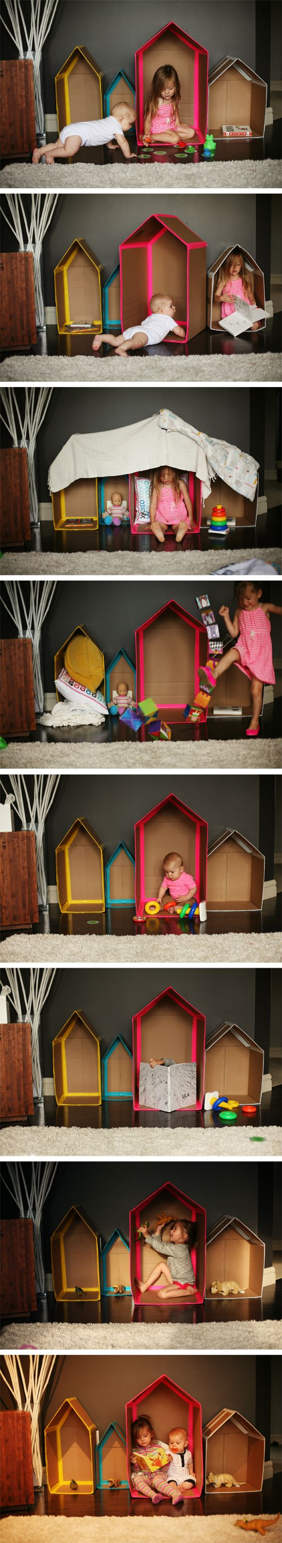 DIY cardboard box village for pretend play (at Adventures in Pink Sugarland)