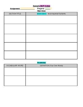 mvp note taking template my tpt products pinterest template