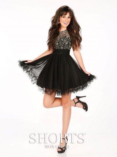Size 6 Black Shorts by Mon Cheri MCS11624 Sheer Beaded Prom Dress ...