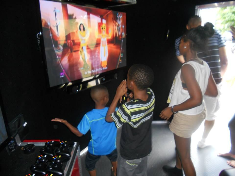 Our action station has room for 4 dancers, bowlers or