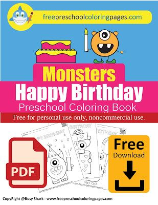 happy birthday monsters coloring pages in 2020  birthday