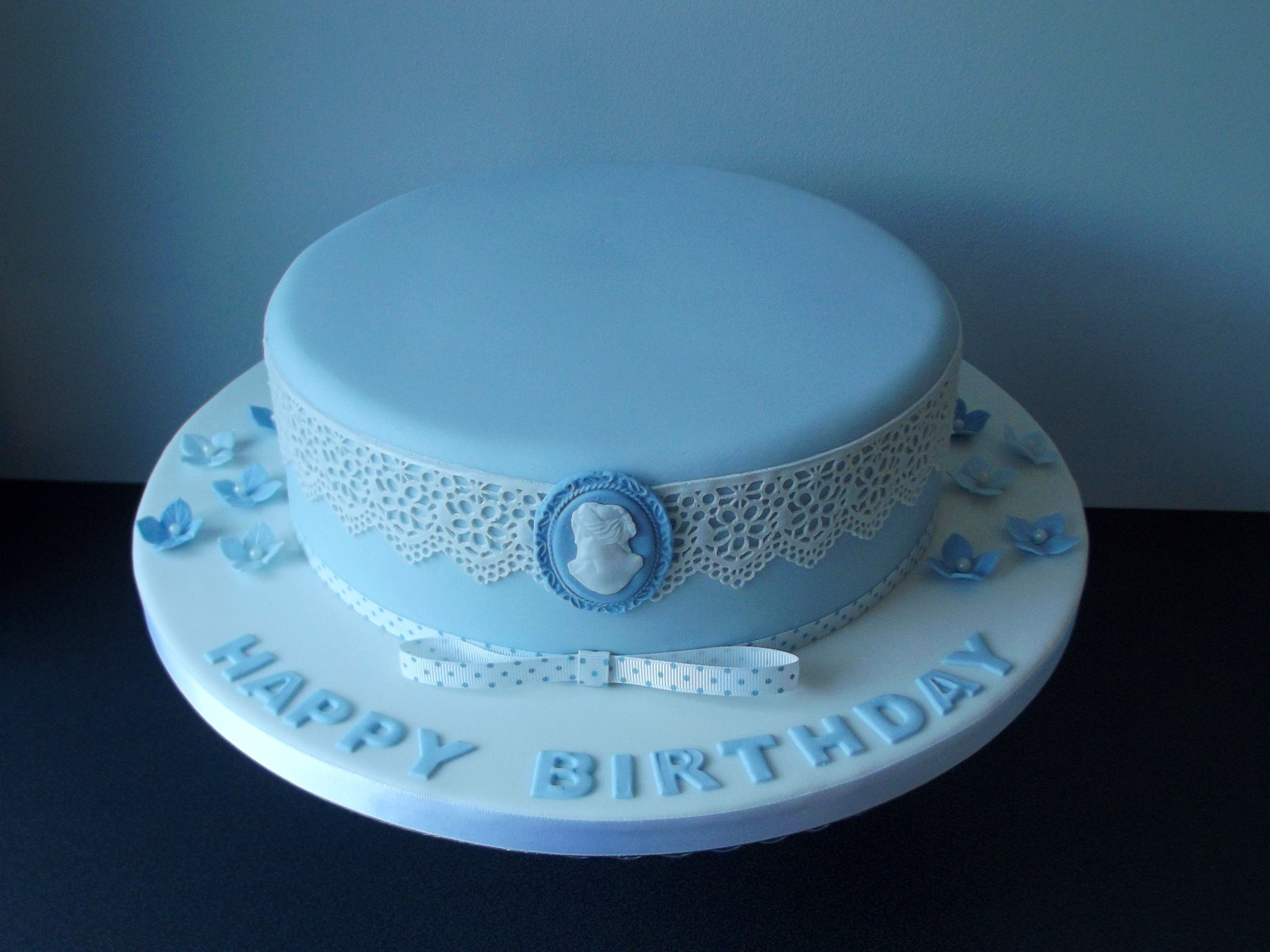 Vintage blue lace birthday cake Birthday cakes for women