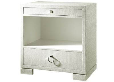 Frances 2 Drawer Side Table From Bungalow 5 Offers Functional Simplicity.  Lacquered Grasscloth Adds