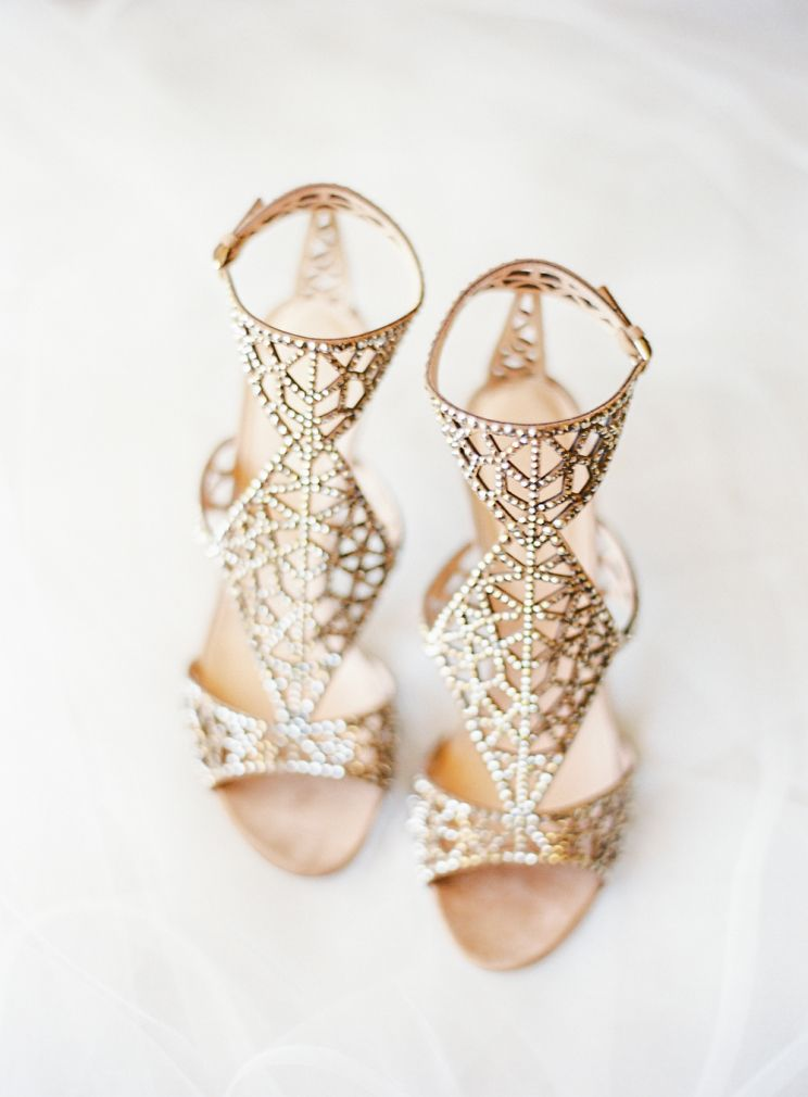 Gold Sergio Rossi Embellished Sandals Wedding Shoes