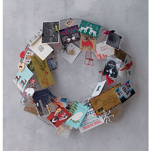 Christmas Card Wreath With Wire Wreath