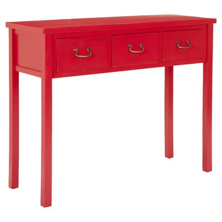 Display cherished family photos or a bouquet of fresh blooms atop this chic pine wood console table, showcasing a vibrant red finish and 3 drawers for ample ...