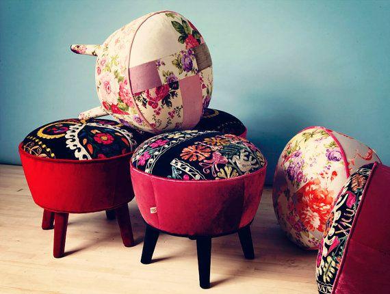 CUSTOM ORDER LISTING for Hissan Bajwa - Suzani retro style pouf ...
