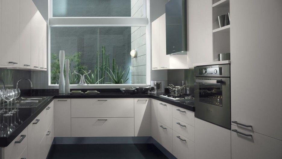 modern black and white kitchen interior fabulous design | Fabulous Modern U Shaped Kitchen Layout Without Island ...