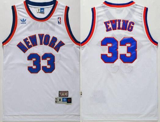 New York Knicks  33 Patrick Ewing White Hardwood Classics Soul Swingman  Throwback Jersey 80bae2a00
