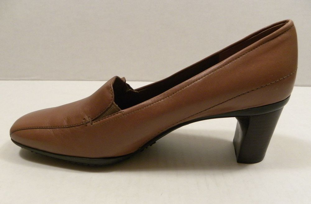 Rockport Women's Shoes 9.5 N Light Brown Leather Pump High Heels Square Toe