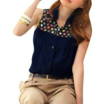 Allegra K Ladies Button Closure Semi Sheer Colorful Dots Upper Shirt Dark Blue S  #tops #tees
