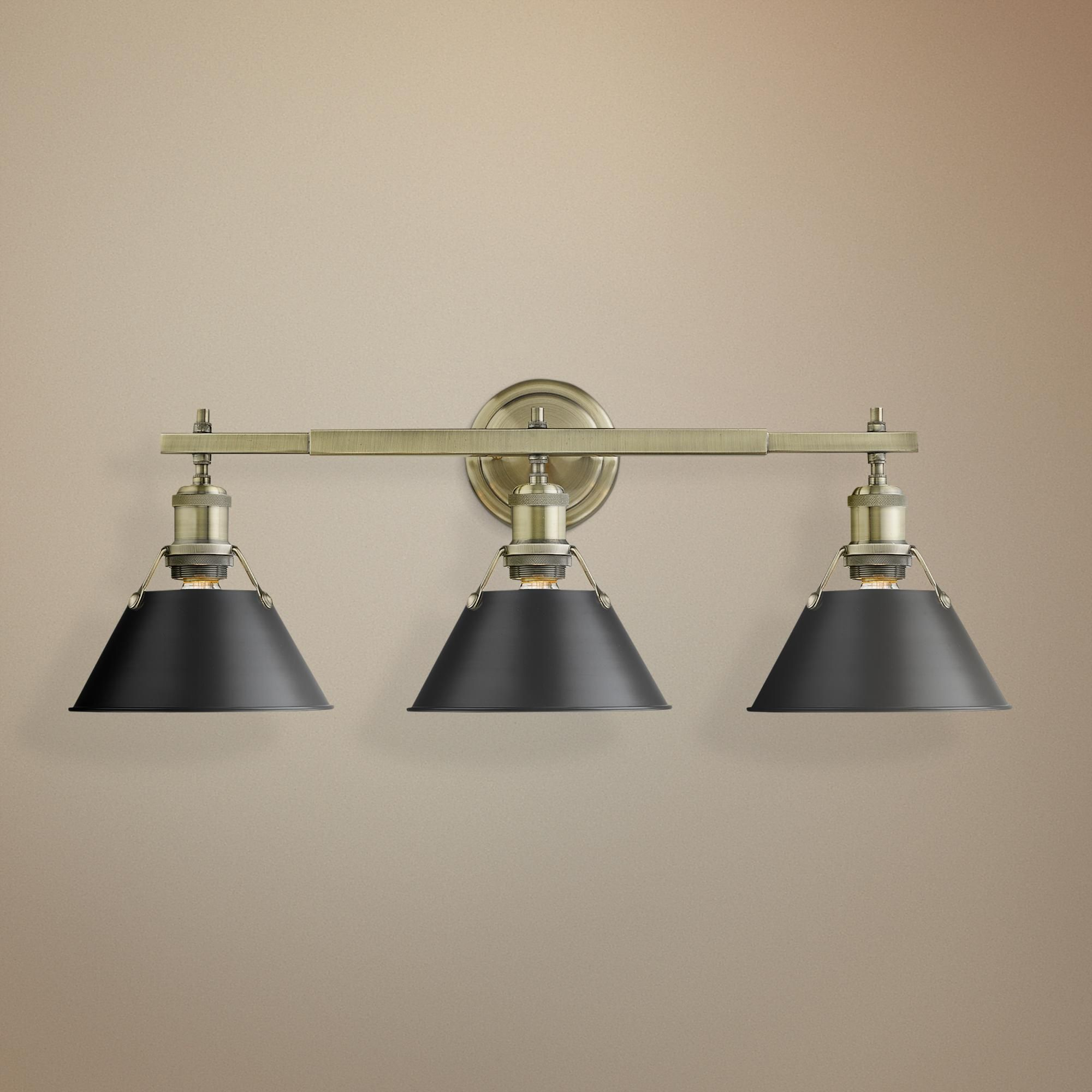 Photo of Orwell 24 And One Quarter Inchw Aged Brass 3 Light Bath Light W Black Shade