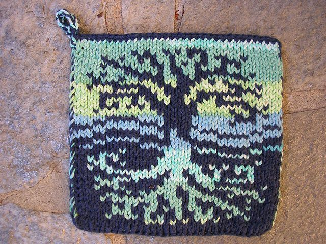 This Is A Pattern For A Tree Of Life Designed Double Knit Potholder