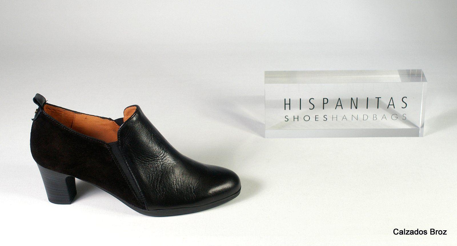 Colección Hispanitas. Zapato abotinado de piel con tacón - Negro. (muller).