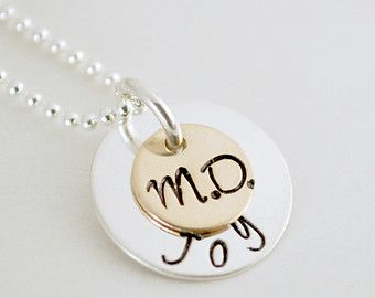 Physician Jewelry - Medical Doctor Necklace - Graduation Gift M.D. - MD Jewelry - Custom Name Hand Stamped Sterling Silver and Gold Filled