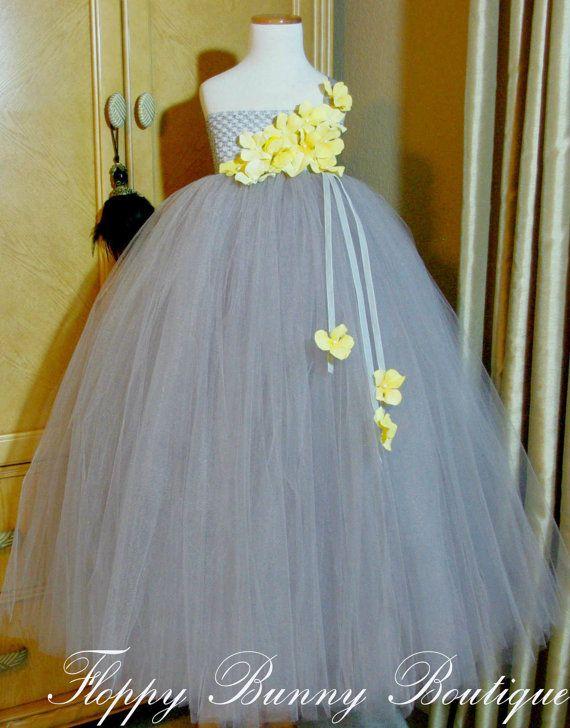 Gray Yellow Tutu Dress Flower By Floppybunnyboutique On Etsy
