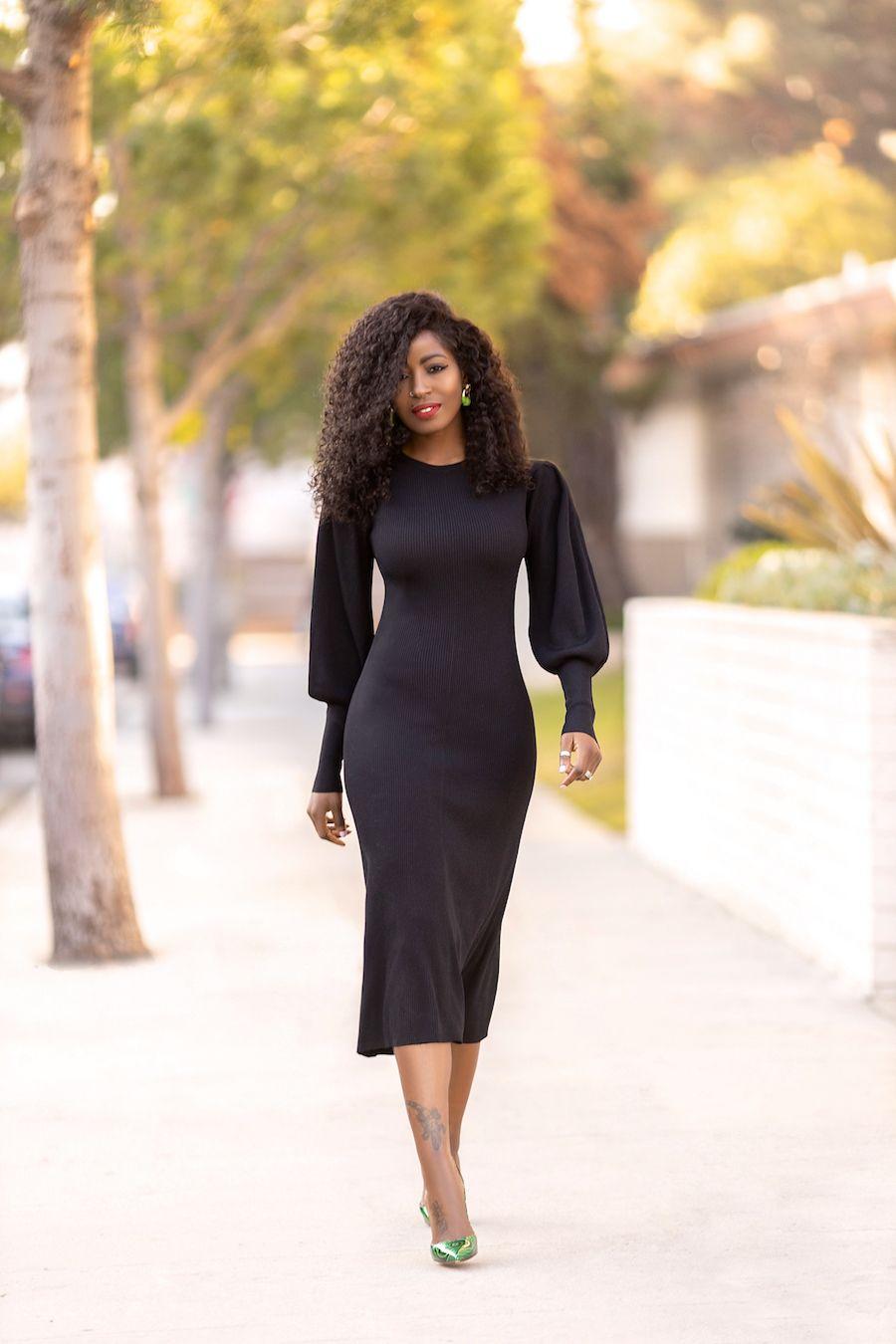 Black Puff Sleeve Midi Dress Puff Sleeve Midi Dresses Midi Dress Outfit Midi Dress Style [ 1350 x 900 Pixel ]
